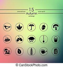 otoño, conjunto, iconos