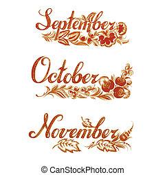 otoño, conjunto, nombre, mes