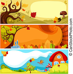 otoño, conjunto, tarjeta