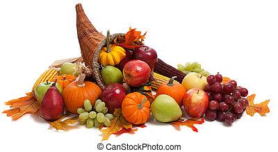 otoño, cornucopia, en, un, blanco, espalda, suelo