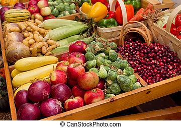 otoño, cosecha, vegetales