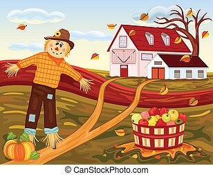 otoño, cosechar, en, el, granja