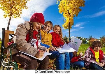 otoño, cuadros, niños, dibujo