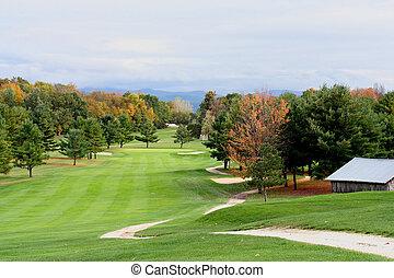 otoño, curso, golf