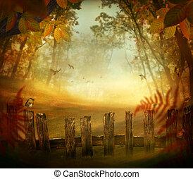 otoño, diseño, -, bosque, con, cerca de madera