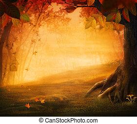 otoño, diseño, -, bosque, en, otoño