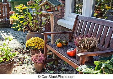 otoño, en, holandés, jardín