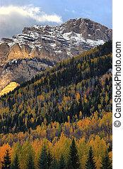 otoño, en, montañas