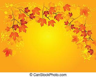 otoño, en, oro
