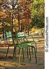 otoño, en, paris., típico, parisiense, parque, sillas, en, el, luxemburgo, garden., parís, francia