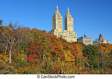 otoño, en, parque central, nueva york