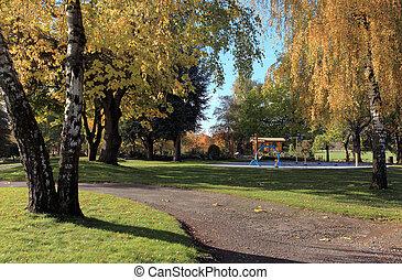otoño, en, un, park.