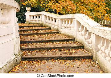 otoño, estación, hojas, caído, escalera