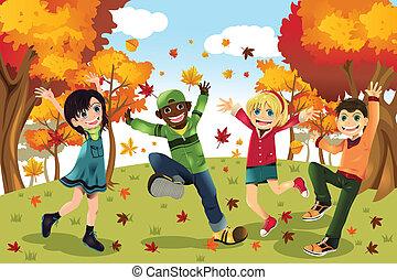 otoño, estación, niños, otoño