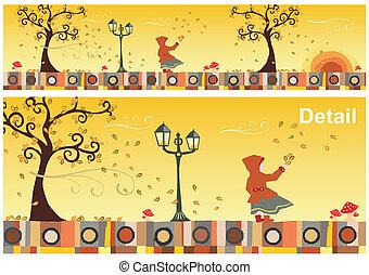 otoño, estaciones, collection: