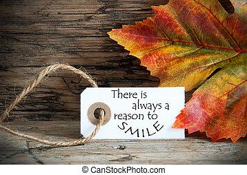 otoño, etiqueta, con, allí, es, always, un, razón, para sonreír