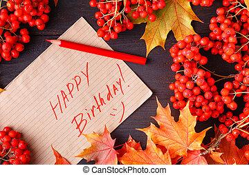 otoño, etiqueta, con, el, palabras, feliz cumpleaños, en, él