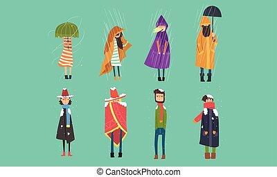 otoño, exterior, lluvioso, invierno, vector, frío, gente, ...