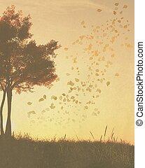 otoño, (fall), árboles, plano de fondo
