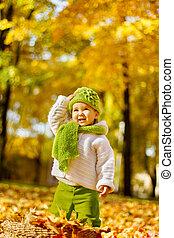 otoño, feliz, parque, niño