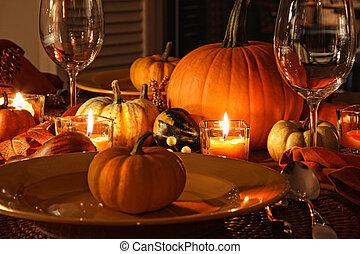 otoño, festivo, lugar, calabazas, ajustes