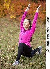otoño, fitness:, bajo, estocada, ejercicio