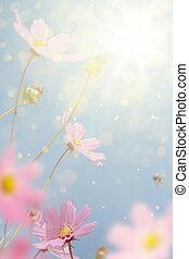 otoño, flores, arte, retro, plano de fondo