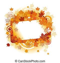 otoño, frame:, arce, leaf., lugar, para, su, texto, here.