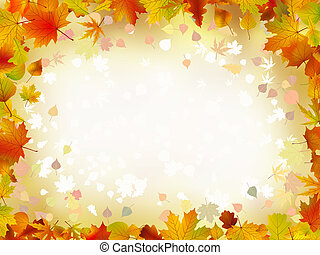 otoño, frontera, hojas, text., su