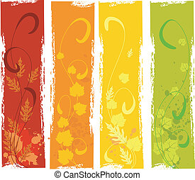 otoño, grungy, banderas, conjunto