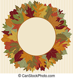 otoño, guirnalda, hoja