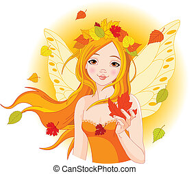 otoño, hada, con, hoja