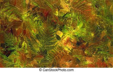 otoño, hojas, colorido