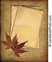 otoño, hojas,  Grunge, papeles