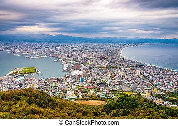 otoño, hokkaido, hakodate, japón, skyline.