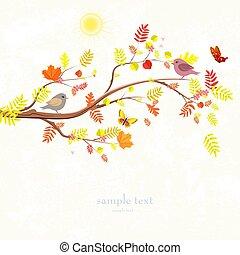 otoño, invitación, tarjeta, con, rama, de, árbol, y, un, lindo, aves, para