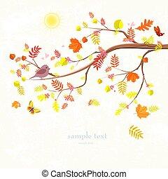 otoño, invitación, tarjeta, con, rama, de, árbol, y, un, lindo, pájaro, para, y