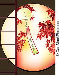 otoño, jardín japonés