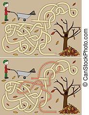 otoño, laberinto