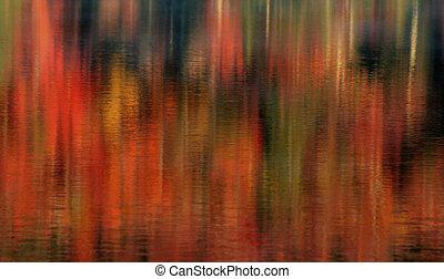 otoño, lago, reflexiones