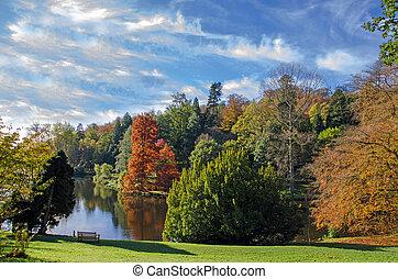 otoño, lago, stourhead