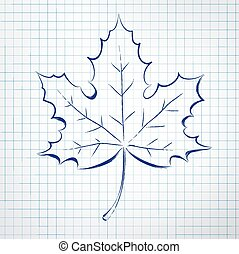 otoño, leaf., bloc, sketch.