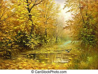 otoño, madera, camino