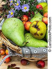 otoño, maduro, peras