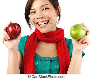 otoño, manzana, mujer