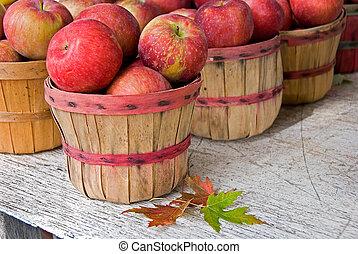 otoño, manzanas, en, bushel, cestas