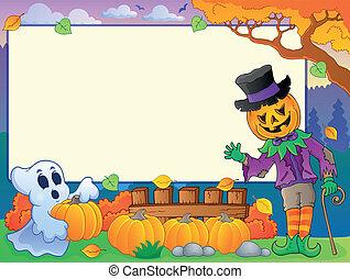 otoño, marco, con, halloween, tema, 4