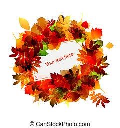 otoño, marco, con, lugar, para, su, texto