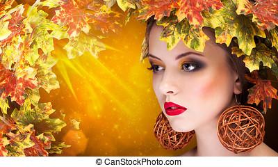 otoño, moda, retrato, de, mujer hermosa