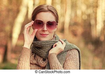 otoño, moda, retrato